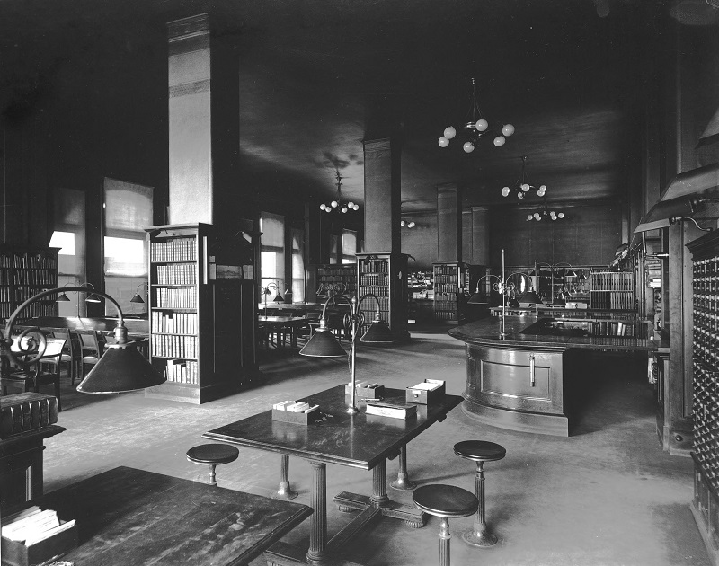 John Crerar Library. Description: John Crerar Library; Chicago, IL. Source: ICHi-19144; BC-144. Chicago History Museum. Reproduction of photographic print, photographer - Barnes Crosby. Date: n.d.