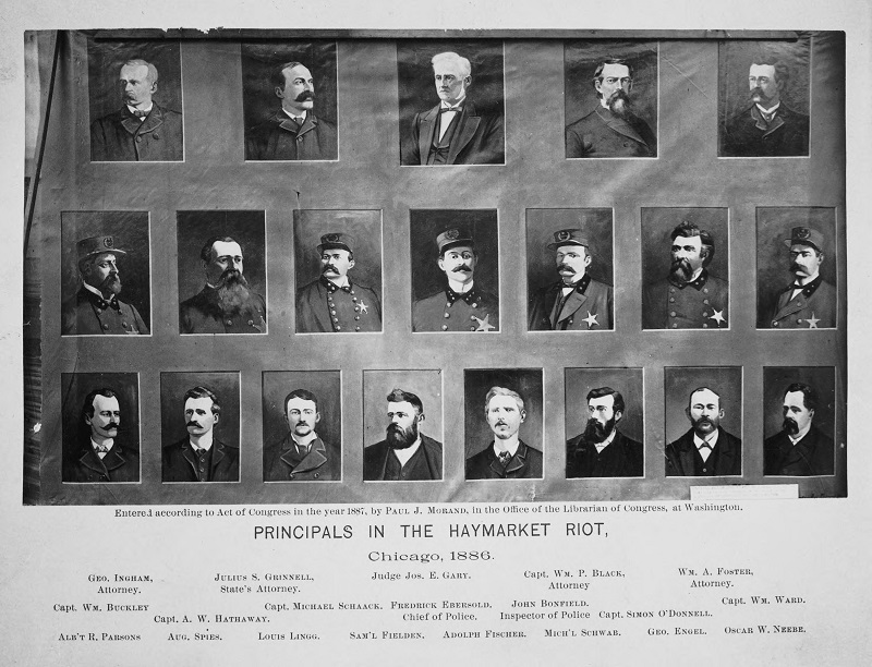 Haymarket Riots, Principals in the Haymarket Riot. Descriptions: Haymarket Riots, Principals in the Haymarket Riot; Chicago, IL. Source: ICHi-03678. Chicago History Museum. Reproduction of photograph, photographer unknown. Date: 1880.