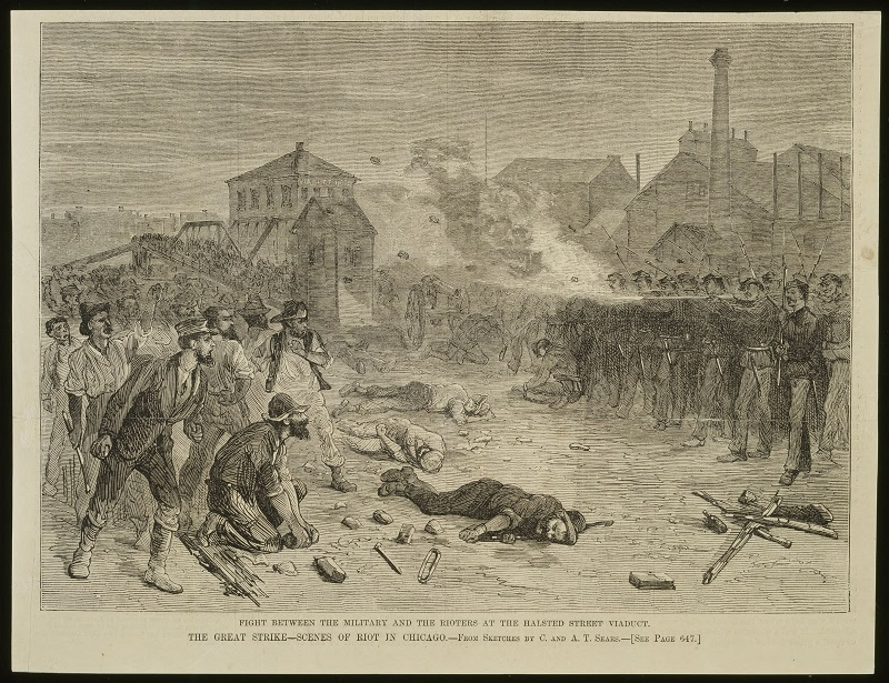 Fight between the military and rioters at the Halsted St. viaduct. Description: Fight between the military and rioters at the Halsted St. viaduct; Chicago, IL. Source: ICHi-04893. Chicago History Museum. Reproduction of lithograph, artist unknown. Published in Harper's Weekly. Date: August 18, 1877.