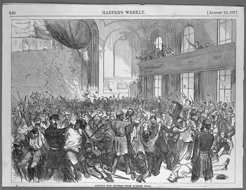 Harper's Weekly 'Driving the Rioters From Turner Hall.' Description: 'Driving the Rioters From Turner Hall;' Chicago, IL. Source: ICHi-14018. Chicago History Museum. Harper's Weekly, reproduction of lithograph, artist unknown. Date: August 18, 1877 (n.p.) (n.d.).