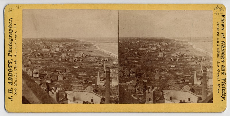 View north from the Water Tower after the Chicago Fire of 1871. Description: View north from the Water Tower after the Chicago Fire of 1871, Chicago, IL. Source: ICHi-34524. Chicago History Museum. Reproduction of stereograph, photographer J. H. Abbott. Date: 1871.