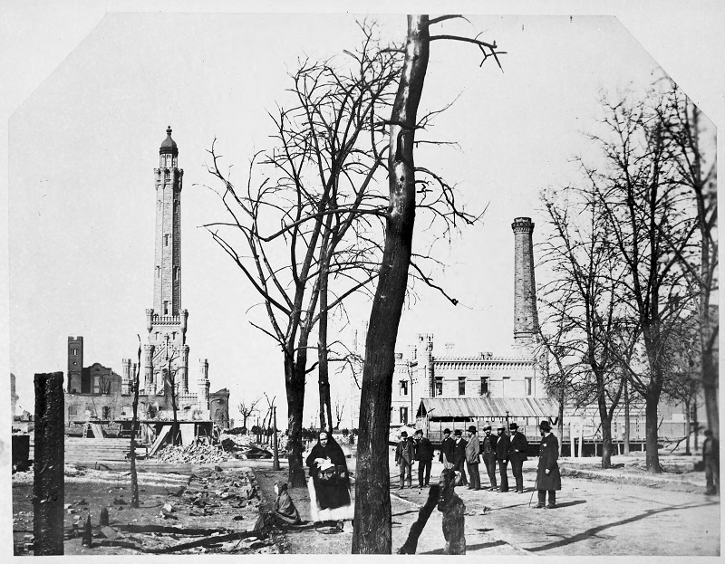 Water Tower and waterworks after the Fire of 1871. Description: Water Tower and waterworks after the Fire of 1871, Chicago, IL. Source: ICHi-02792. Chicago History Museum. Reproduction of photograph, photographer unknown. Date: 1871.