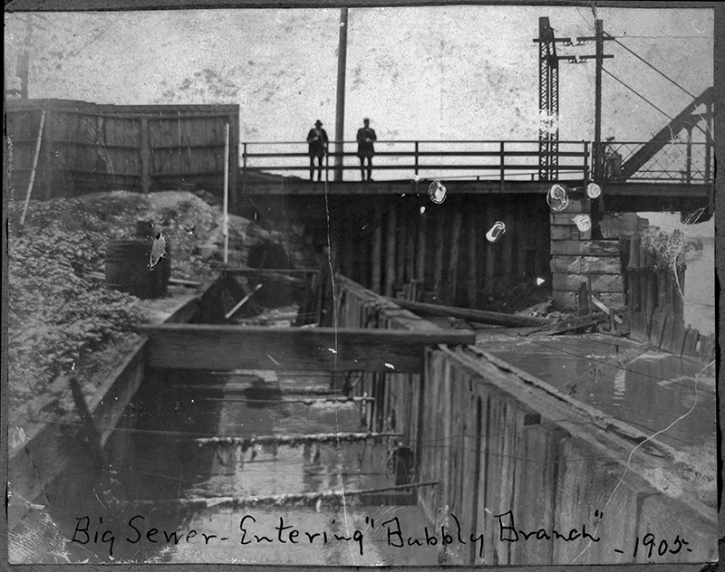 Big sewer entering Bubble Creek Branch. Description: Big sewer entering Bubble Creek Branch; Chicago, IL. ICHi-15014. Chicago History Museum. Reproduction of photograph; photographer unknown. From Chicago Commons collections. Date: 1905.