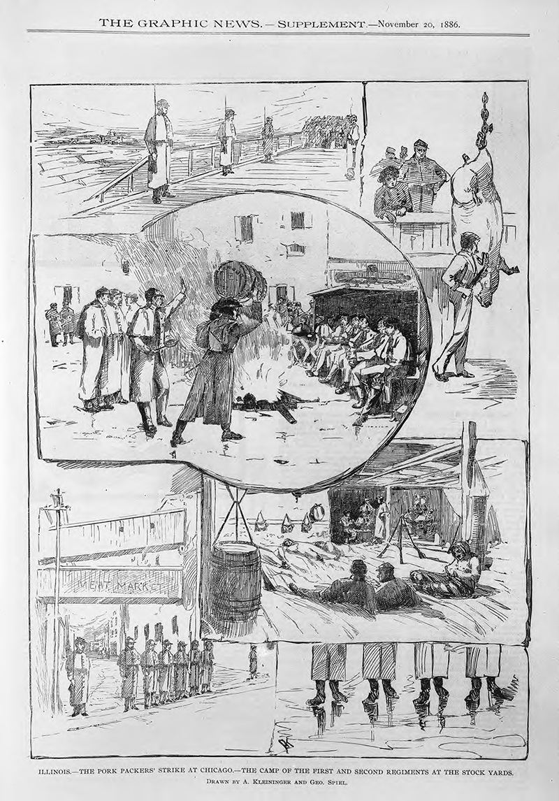 The Pork Packers Plant strike in Chicago. Description: The Pork Packers Plant strike at Chicago, IL. Source: ICHi-16072. Chicago History Museum. Reproduction of engraving, engraver unknown. Date: November 20, 1886.