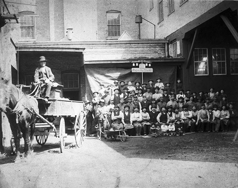 Workers at Horn Brothers Furniture Company, before the strike. Description: Workers at Horn Brothers Furniture Company, before the strike. Source: ICHi-20069. Chicago History Museum. Reproduction of photograph, photographer unknown. Date: April 30, 1886.