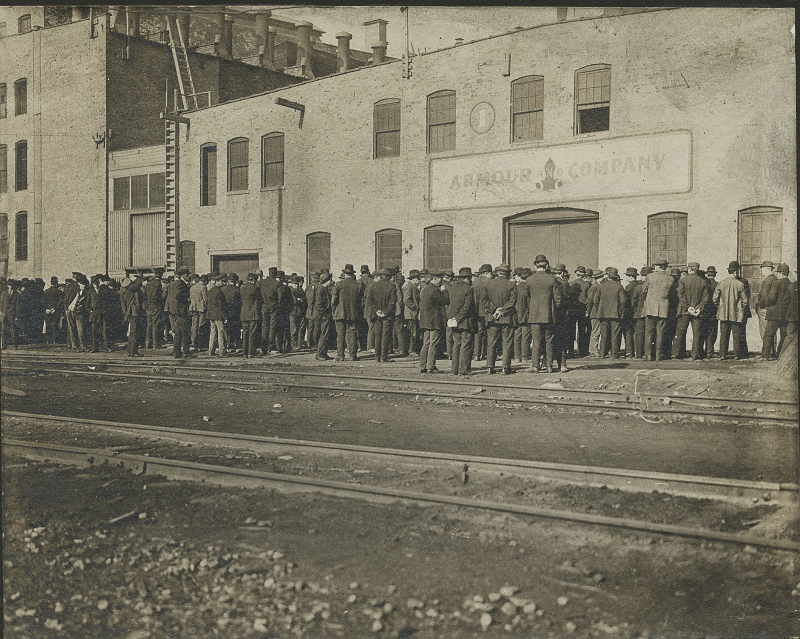 J Ogden Armour Strikes, 'We Don't have to pay higher wages we can get the labor we want.' Description: 'We Don't have to pay higher wages we can get the labor we want' J Ogden ? Armour Strikes; Chicago, IL. Source: ICHi-52112. Chicago History Museum. Reproduction of photographic print, photographer unknown. Date: 1890-1899.