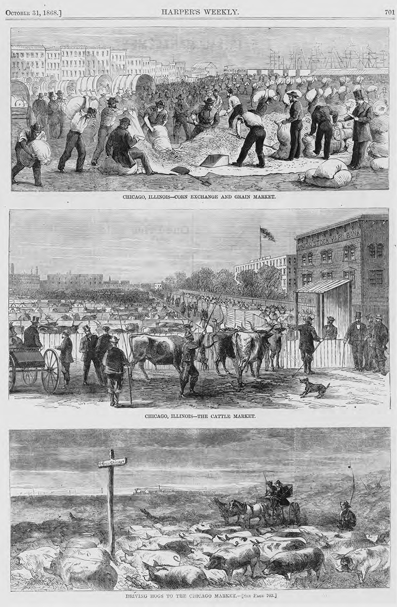 Engraving Stockyards 1868 from Harper's Weekly. Description: Engraving Stockyards 1868 from Harper's Weekly; Chicago, IL. Source: ICHi-52240. Chicago History Museum. Reproduction of photographic print, photographer unknown. Date: October 31, 1868.