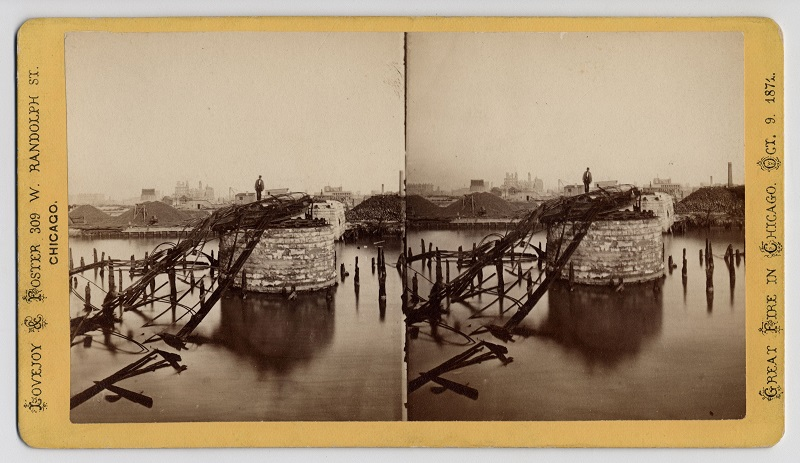 Among the ruins of Chicago, Van Buren Street bridge. Description: Among the ruins of Chicago, Van Buren Street bridge; Chicago, IL. Source: ICHi-19792. Chicago History Museum. Reproduction of stereograph, photographer - G. N. Barnard. Date: 1871.