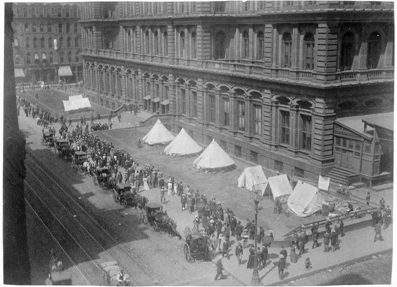 Troops camped by Court House, Railroad Strike of 1894. Description: Troops camped by Court House, Railroad Strike of 1894, Chicago, IL. Source: ICHi-22888. Reproduction of photographic print, photographer unknown. Date: 1894.