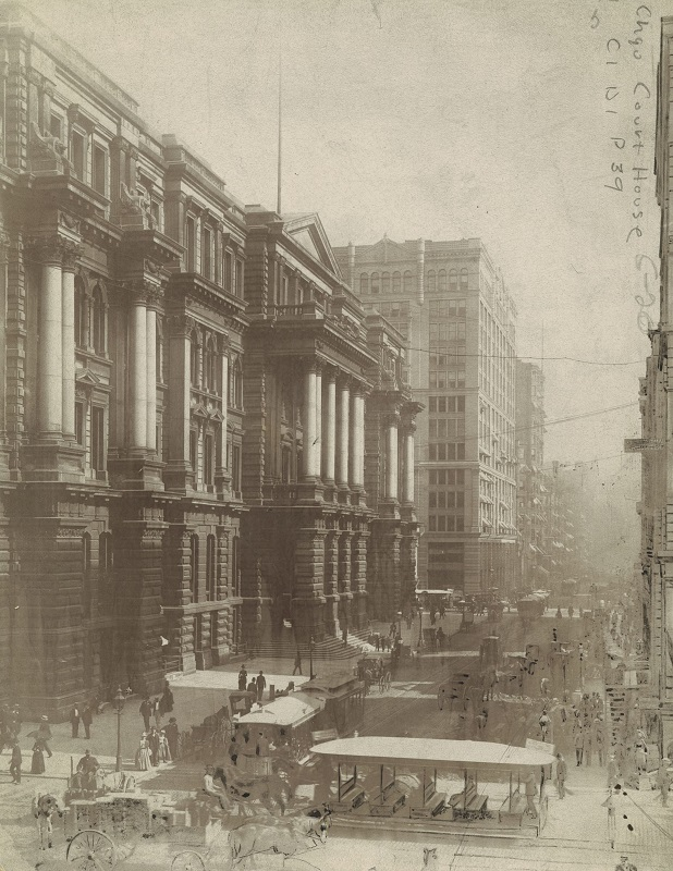 LaSalle Street looking south from Randolph City Hall and Chamber of Commerce. Description: LaSalle Street looking south from Randolph City Hall and Chamber of Commerce; Chicago, IL. Source: ICHi-52232. Chicago History Museum. Reproduction of photographic print, photographer unknown. Date: 1901.