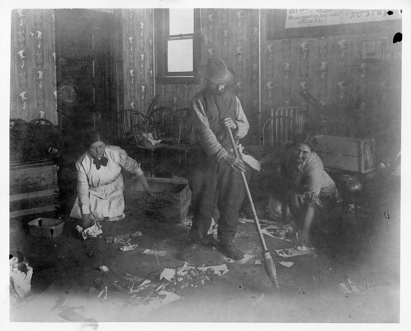 Floor cleaning. Photograph by Rubenstein UNITE HERE Archives, Kheel Center, Cornell University Date: Circa 1885