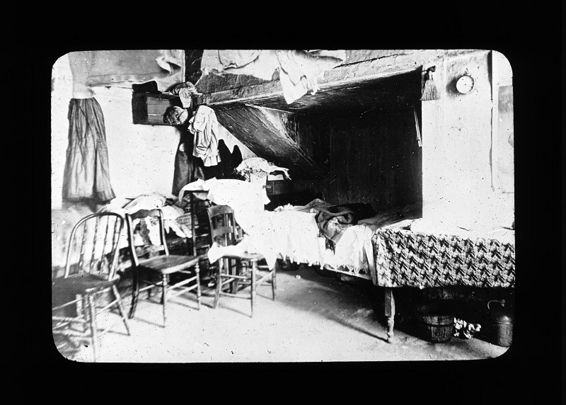 Bedroom. Photograph by Rubenstein Source: UNITE HERE Archives, Kheel Center, Cornell University Date: Circa 1885.